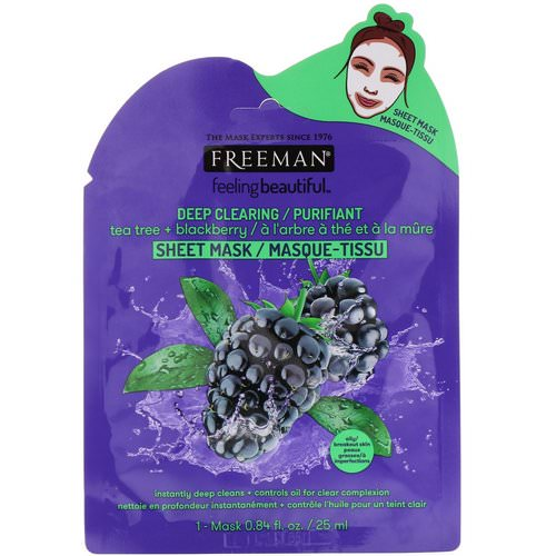 Freeman Beauty, Feeling Beautiful, Deep Clearing Sheet Mask, Tea Tree + Blackberry, 1 Mask Review