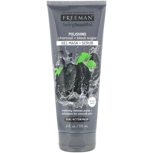 Freeman Beauty, Feeling Beautiful, Polishing Gel Mask + Scrub, Charcoal + Black Sugar, 6 fl oz (175 ml) Review