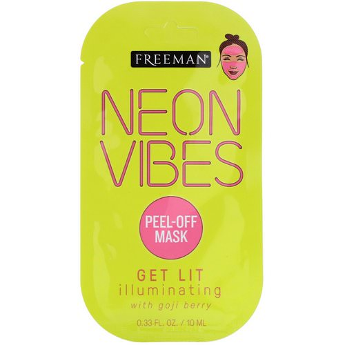 Freeman Beauty, Neon Vibes, Get Lit, Illuminating Peel-Off Mask, 0.33 fl oz (10 ml) Review