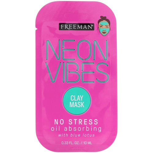 Freeman Beauty, Neon Vibes, No Stress, Oil Absorbing Clay Mask, 0.33 fl oz (10 ml) Review