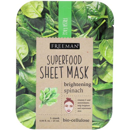 Freeman Beauty, Superfood Sheet Mask, Brightening Spinach, 1 Mask Review