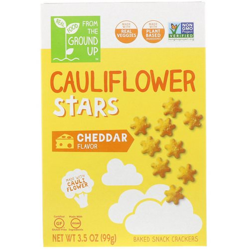 From The Ground Up, Cauliflower Stars, Baked Snack Crackers, Cheddar, 3.5 oz (99 g) Review