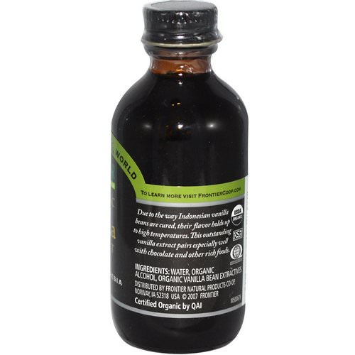 Frontier Natural Products, Organic Vanilla Extract, Indonesia, Farm Grown, 2 fl oz (59 ml) Review