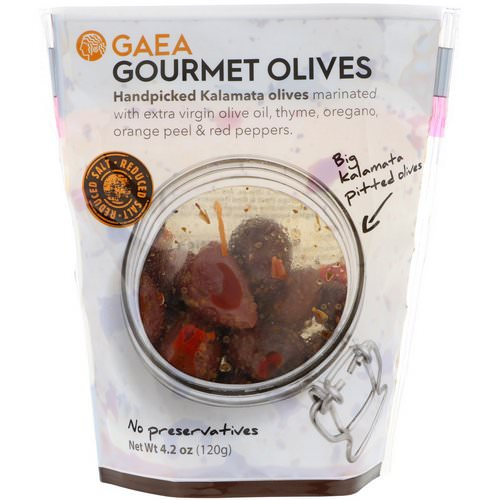 Gaea, Gourmet Olives, Marinated Pitted Kalamata Olives, 4.2 oz (120 g) Review