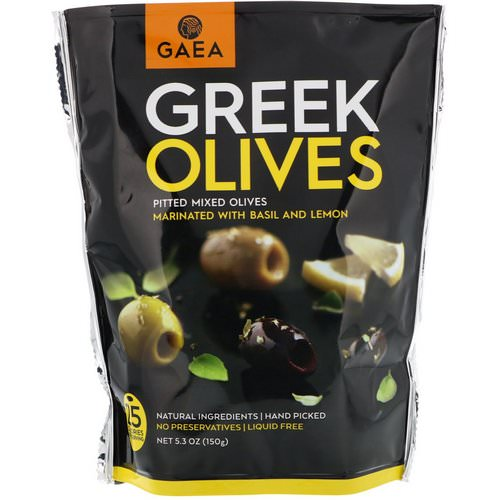 Gaea, Greek Olives, Pitted Mixed Olives, Marinated With Basil and Lemon, 5.3 oz (150 g) Review