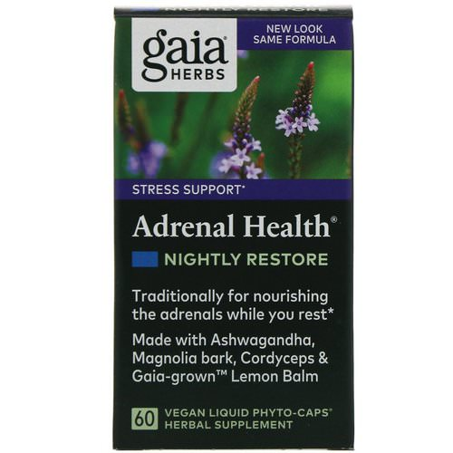 Gaia Herbs, Adrenal Health, Nightly Restore, 60 Vegan Liquid Phyto-Caps Review