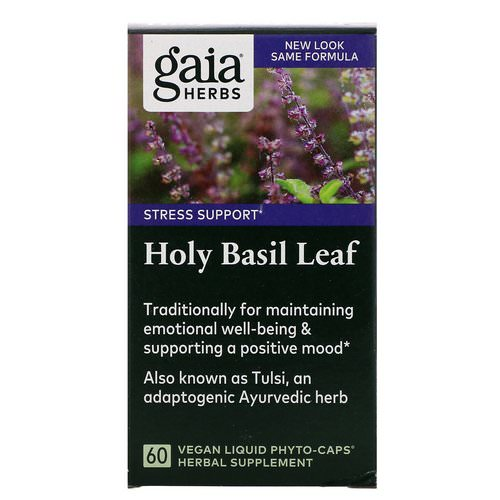 Gaia Herbs, Holy Basil Leaf, 60 Vegan Liquid Phyto-Caps Review