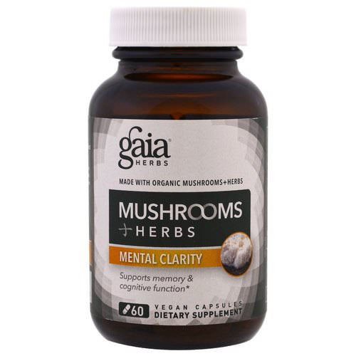Gaia Herbs, Mushroom + Herbs, Mental Clarity, 60 Vegan Capsules Review