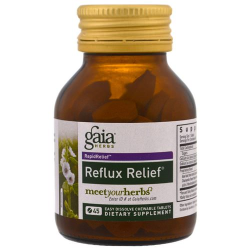 Gaia Herbs, Reflux Relief, 45 Easy Dissolve Chewable Tablets Review