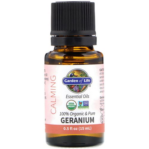 Garden of Life, 100% Organic & Pure, Essential Oils, Calming, Geranium, 0.5 fl oz (15 ml) Review