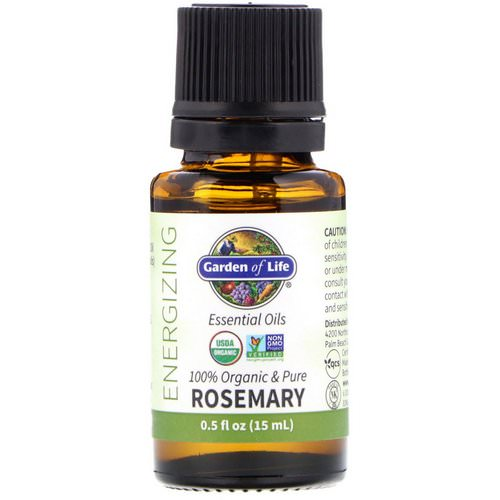 Garden of Life, 100% Organic & Pure, Essential Oils, Energizing, Rosemary, 0.5 fl oz (15 ml) Review