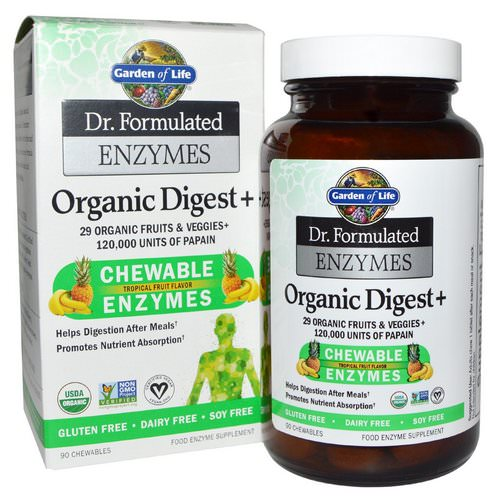 Garden of Life, Dr. Formulated Enzymes, Organic Digest +, Tropical Fruit Flavor, 90 Chewables Review
