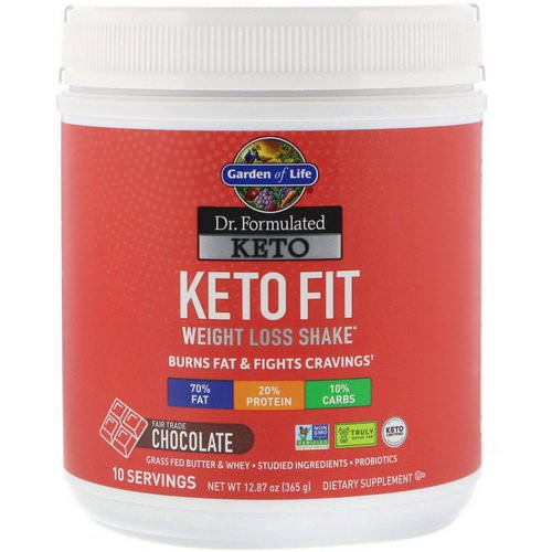Garden of Life, Dr. Formulated Keto Fit Weight Loss Shake, Chocolate, 12.87 oz (365 g) Review