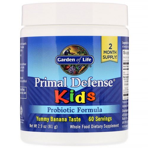 Garden of Life, Kids, Primal Defense, Probiotic Formula, Natural Banana Flavor, 2.9 oz (81 g) Review