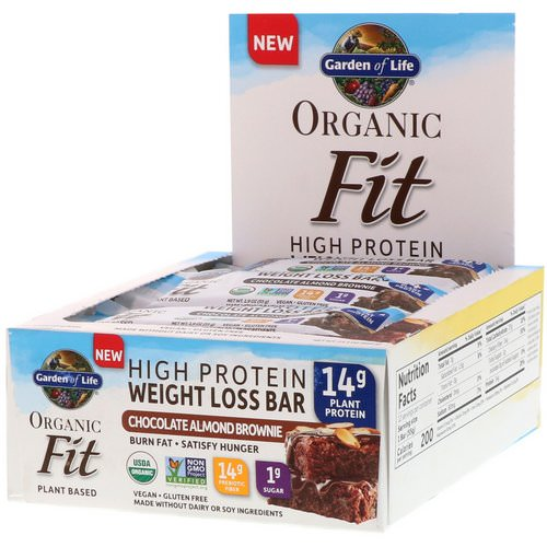 Garden of Life, Organic Fit, High Protein Weight Loss Bar, Chocolate Almond Brownie, 12 Bars, 1.9 oz (55 g) Each Review