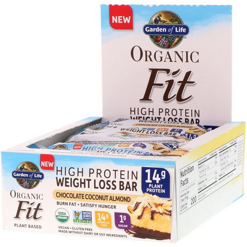Garden of Life, Organic Fit, High Protein Weight Loss Bar, Chocolate Coconut Almond, 12 Bars, 1.9 oz (55 g) Each Review