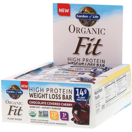 Garden of Life, Organic Fit, High Protein Weight Loss Bar, Chocolate Covered Cherry, 12 Bars, 1.9 oz (55 g) Each Review