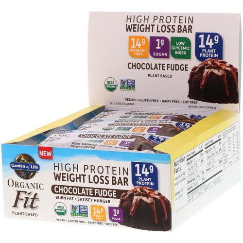 Garden of Life, Organic Fit, High Protein Weight Loss Bar, Chocolate Fudge, 12 Bars, 1.9 oz (55 g) Each Review