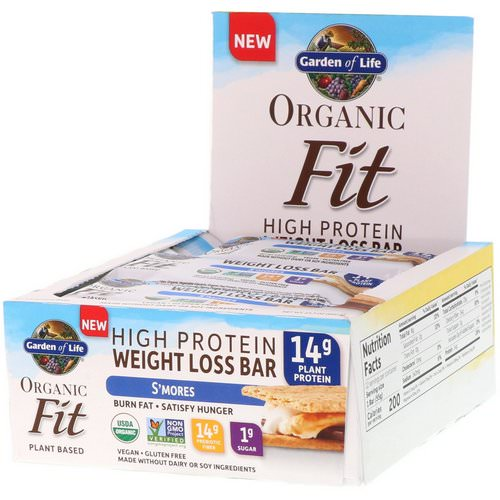 Garden of Life, Organic Fit, High Protein Weight Loss Bar, S'mores, 12 Bars, 1.9 oz (55 g) Each Review