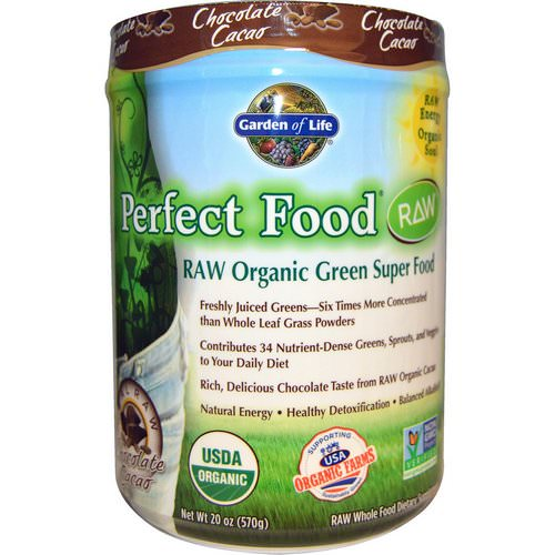Garden of Life, Raw Organic Perfect Food Green Super Food, Chocolate Cacao, 1.25 lbs (570 g) Review