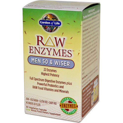 Garden of Life, RAW Enzymes, Men 50 & Wiser, 90 Veggie Caps Review