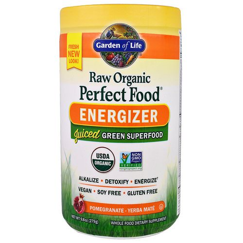 Garden of Life, Raw Organic Perfect Food, Energizer, Pomegranate - Yerba Mate, 9.8 oz (279 g) Review