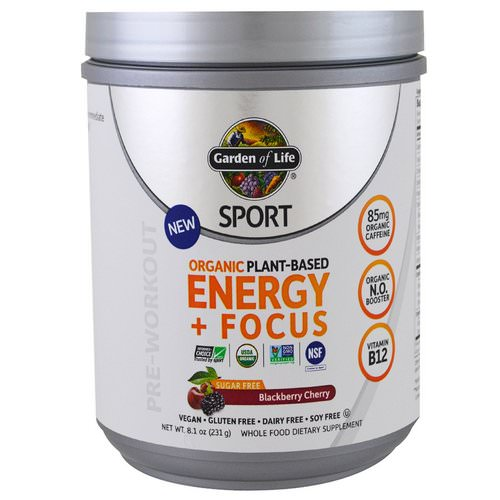Garden of Life, Sport, Organic Plant-Based Energy + Focus, Pre-Workout, Sugar Free, Blackberry Cherry, 8.1 oz (231 g) Review
