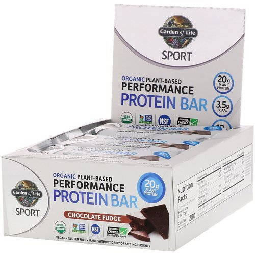 Garden of Life, Sport, Organic Plant-Based Performance Protein Bar, Chocolate Fudge, 12 Bars, 2.7 oz (75 g) Each Review