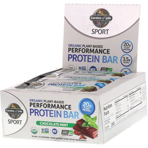 Garden of Life, Sport, Organic Plant-Based Performance Protein Bar, Chocolate Mint, 12 Bars, 2.5 oz (70 g) Each Review