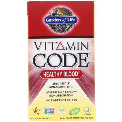 Garden of Life, Vitamin Code, Healthy Blood, 60 Vegan Capsules Review