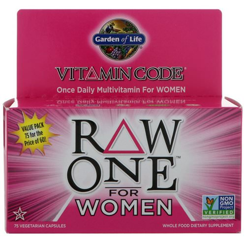 Garden of Life, Vitamin Code, Raw One, Once Daily Multi-Vitamin for Women, 75 Vegetarian Capsules Review
