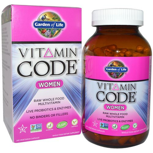 Garden of Life, Vitamin Code, Women, Raw Whole Food Multivitamin, 240 Veggie Caps Review