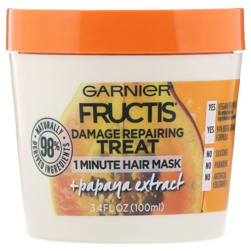 Garnier, Fructis, Damage Repairing Treat, 1 Minute Hair Mask, + Papaya Extract, 3.4 fl oz (100 ml) Review