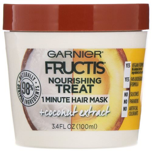 Garnier, Fructis, Nourishing Treat, 1 Minute Hair Mask + Coconut Extract, 3.4 fl oz (100 ml) Review