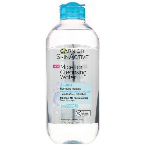 Garnier, SkinActive, Micellar Cleansing Water, All-in-1 Makeup Remover Even Waterproof Mascara, All Skin Types, 13.5 fl oz (400 ml) Review