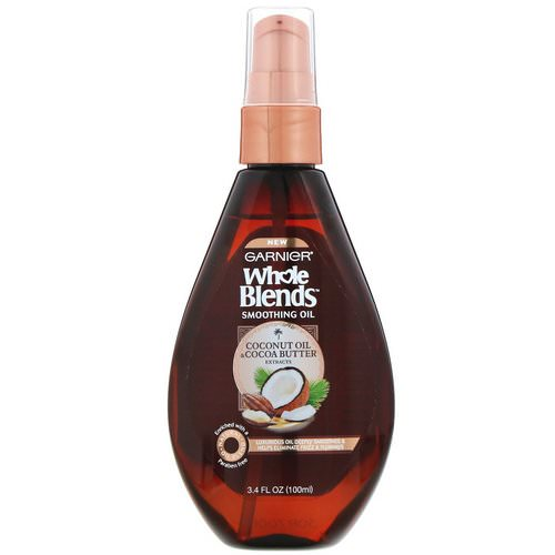 Garnier, Whole Blends, Coconut Oil & Cocoa Butter Smoothing Oil, 3.4 fl oz (100 ml) Review
