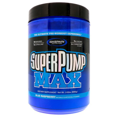 Gaspari Nutrition, SuperPump Max, Blue Raspberry Ice, 1.41 lbs (640 g) Review