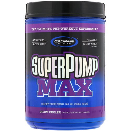 Gaspari Nutrition, SuperPump Max, The Ultimate Pre-Workout Supplement, Grape Cooler, 1.41 lbs (640 g) Review