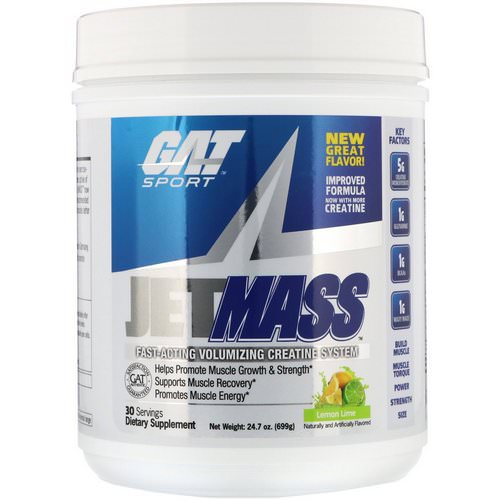 GAT, Jetmass, Fast-Acting Volumizing Creatine System, Lemon Lime, 24.7 oz (699 g) Review