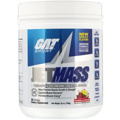 GAT, Jetmass, Fast-Acting Volumizing Creatine System, Strawberry Lemonade, 25 oz (708 g) Review