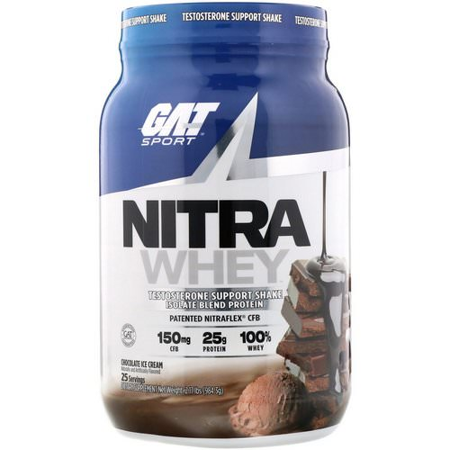 GAT, Nitra Whey, Testosterone Support Shake, Chocolate Ice Cream, 2.17 lb (984.3 g) Review