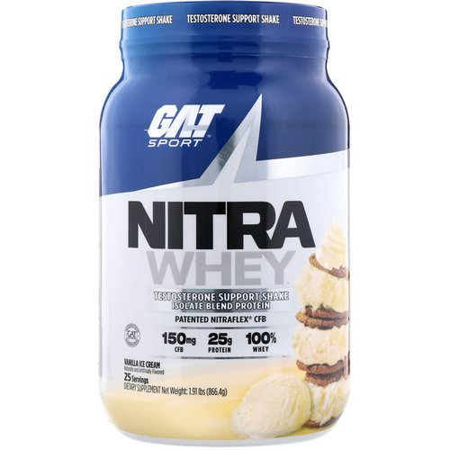 GAT, Nitra Whey, Testosterone Support Shake, Vanilla Ice Cream, 1.91 lb (866.4 g) Review