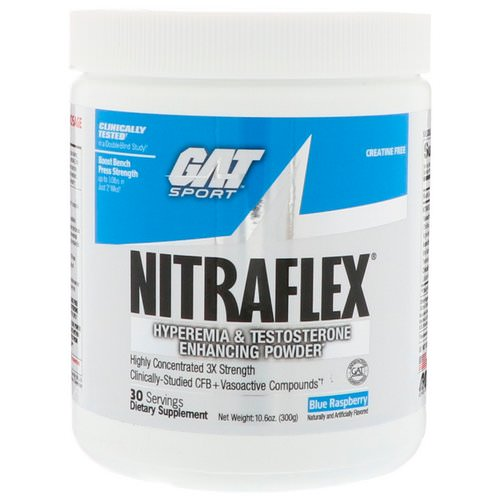 GAT, Nitraflex, Blue Raspberry, 10.6 oz (300 g) Review