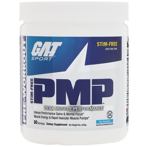 GAT, PMP, Pre-Workout, Peak Muscle Performance, Blue Raspberry, 9 oz (255 g) Review