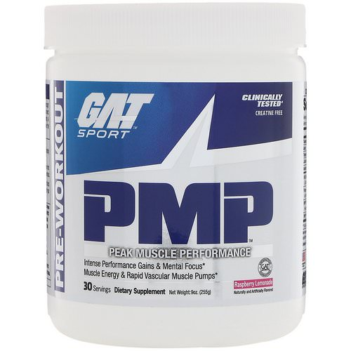 GAT, PMP, Pre-Workout, Peak Muscle Performance, Raspberry Lemonade, 9 oz (255 g) Review