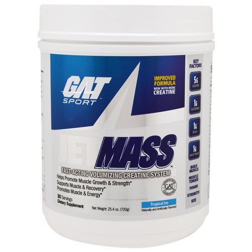 GAT, Sport, JetMass, Volumizing Creatine System, Tropical Ice, 1.58 lbs (720 g) Review