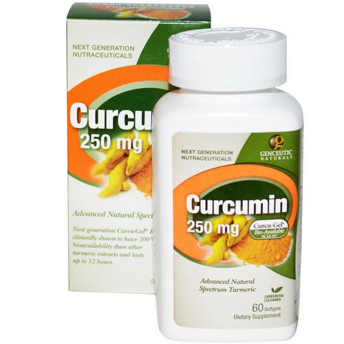 Genceutic Naturals, Curcumin, 250 mg, 60 Softgels Review