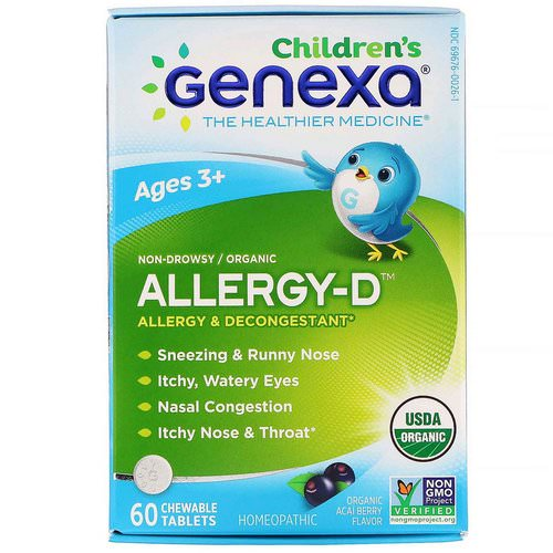 Genexa, Children's Allergy-D, Ages 3+, Allergy & Decongestant, Organic Acai Berry Flavor, 60 Chewable Tablets Review