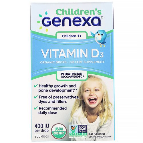 Genexa, Children's Vitamin D3, Children 1+, Organic Vanilla Flavor, 400 IU, 0.23 fl oz (7 ml) Review