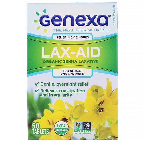 Genexa, Lax-Aid, Organic Senna Laxative, 50 Tablets Review